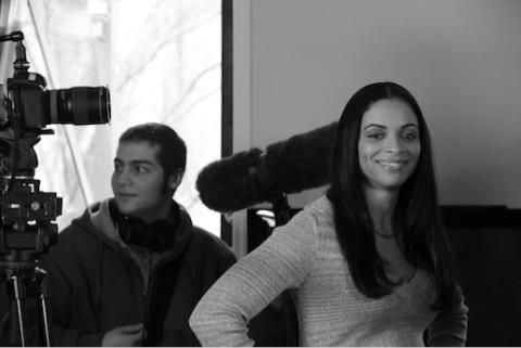 On set of the cinematic book trailer shoot